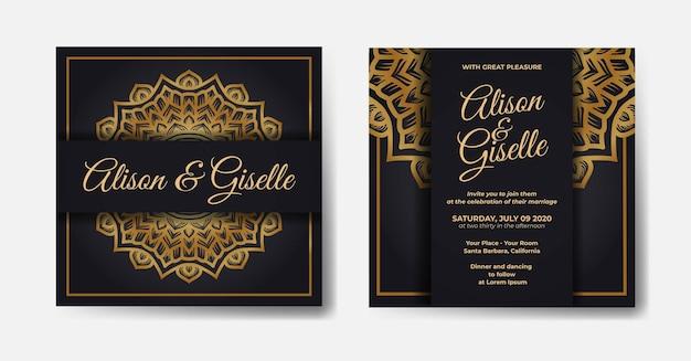 Modelo de convite de casamento de luxo dourado com ornamento de decoração de mandala