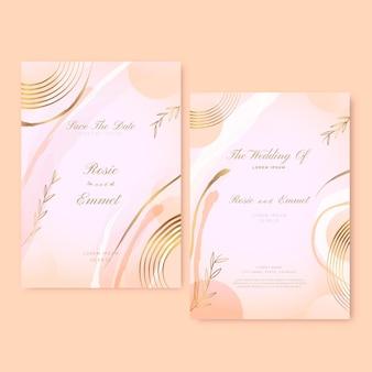 Modelo de convite de casamento de luxo dourado gradiente