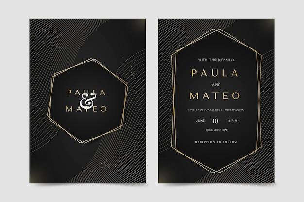 Modelo de convite de casamento de luxo dourado gradiente Vetor Premium