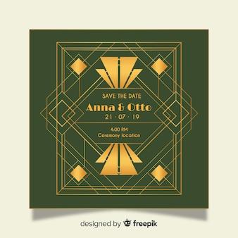 Modelo de convite de casamento de luxo em design art deco