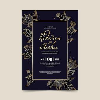 Modelo de convite de casamento de luxo