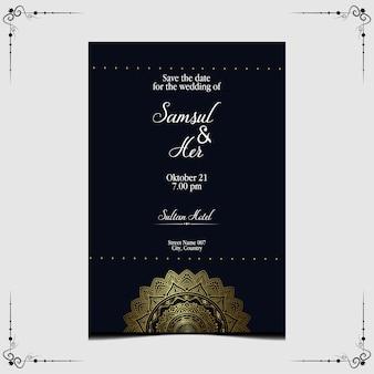 Modelo de convite de casamento de mandala de luxo.
