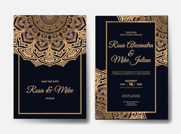 Modelo de convite de casamento de mandala de luxo