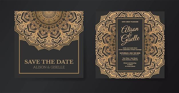 Modelo de convite de casamento de mandala premium