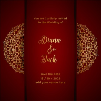 Modelo de convite de casamento de mandala vermelha