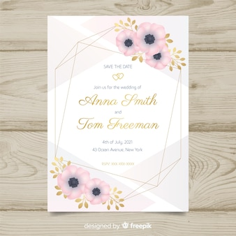 Modelo de convite de casamento de moldura floral
