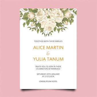 Modelo de convite de casamento de moldura rosa branca