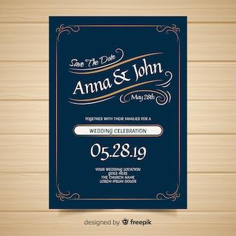 Modelo de convite de casamento de ornamentos
