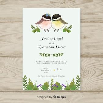 Modelo de convite de casamento de pássaros em aquarela