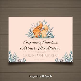 Modelo de convite de casamento de raposa aquarela