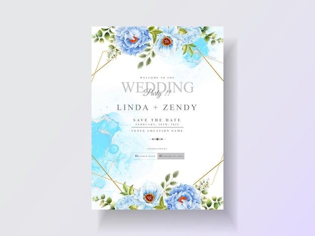 Modelo de convite de casamento de rosas azuis elegantes