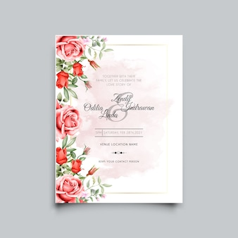 Modelo de convite de casamento de rosas vermelhas elegantes e bonitas