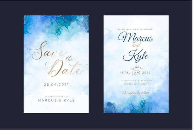 Modelo de convite de casamento de tinta aquarela álcool Vetor grátis