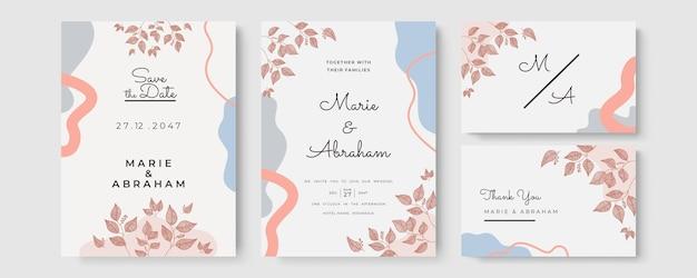 Modelo de convite de casamento definido com arte de linha de folhagem. folhas botânicas desenhadas à mão.