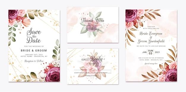 Modelo de convite de casamento definido com decoração de folhas e flores cor de vinho e rosas marrons.