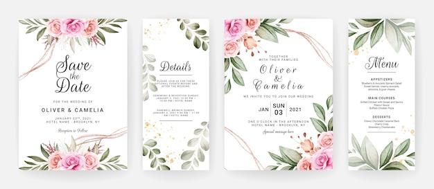 Modelo de convite de casamento definido com decoração de folhas e flores rosas roxas e marrons.