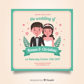Modelo de convite de casamento desenhada de mão