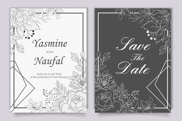 Modelo de convite de casamento desenhado à mão com flores