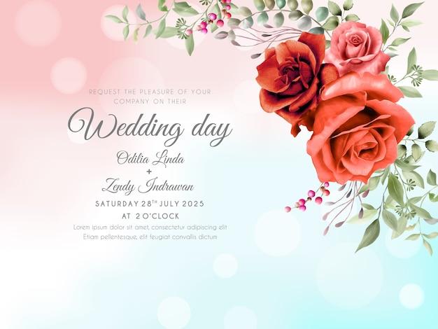 Modelo de convite de casamento desenhado à mão com rosas vermelhas elegantes