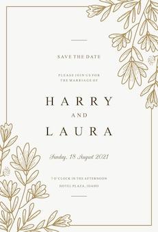 Modelo de convite de casamento desenhado à mão de flor