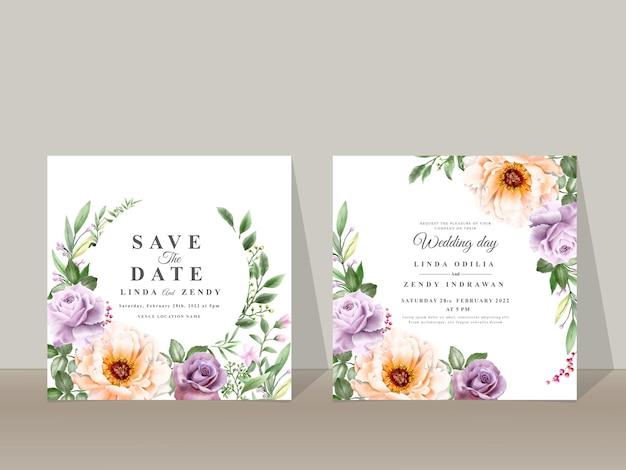 Modelo de convite de casamento desenhado à mão floral