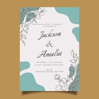 Modelo de convite de casamento desenhado de mão com flores
