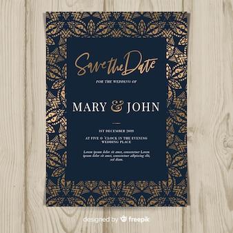 Modelo de convite de casamento design arte deco