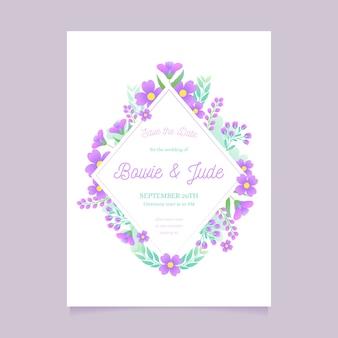 Modelo de convite de casamento design floral