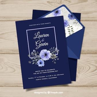 Modelo de convite de casamento do vintage com estilo floral