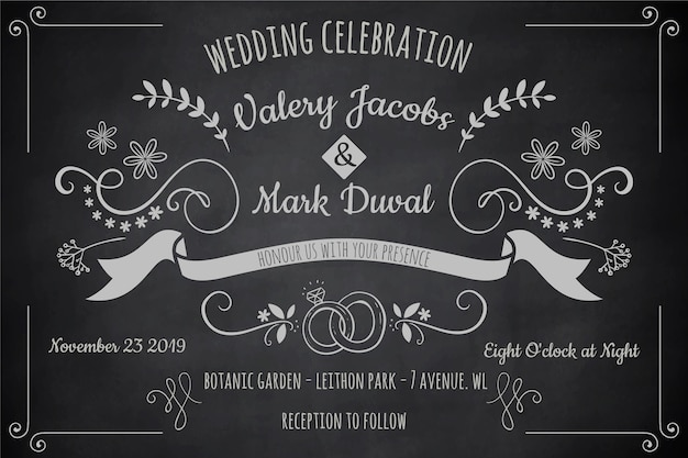 Modelo de convite de casamento do vintage no quadro-negro