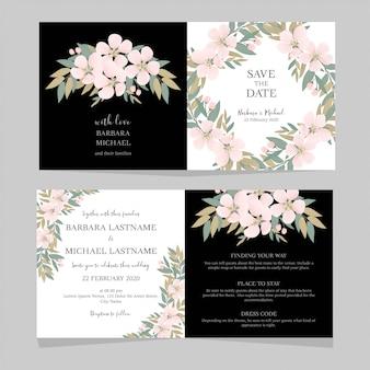 Modelo de convite de casamento dobrado de flor de cerejeira