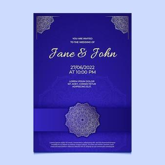 Modelo de convite de casamento dourado de gravura desenhada à mão