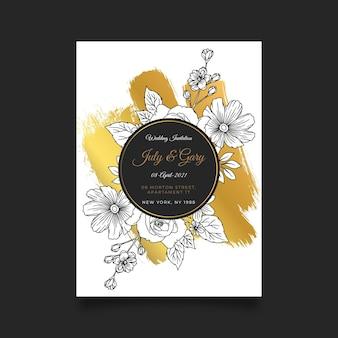 Modelo de convite de casamento dourado desenhado à mão