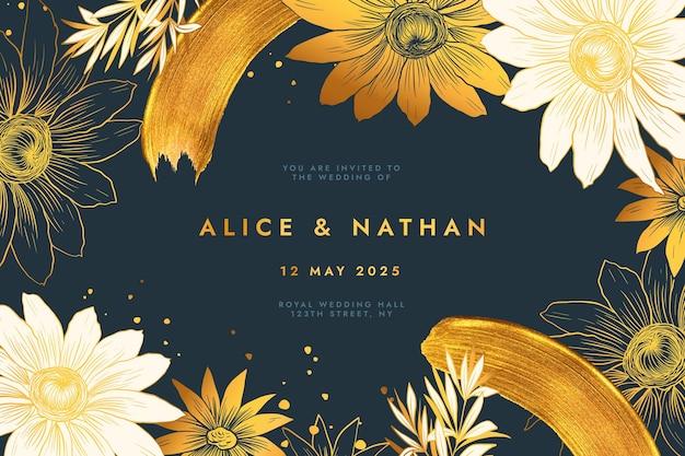 Modelo de convite de casamento dourado