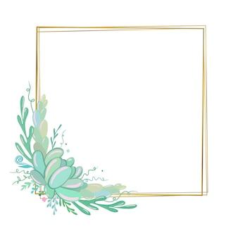 Modelo de convite de casamento editável em vetor quadro floral com suculentas quadro dourado elegante