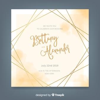 Modelo de convite de casamento elegante aquarela