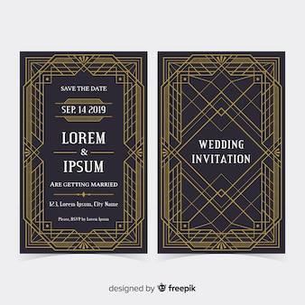 Modelo de convite de casamento elegante art deco