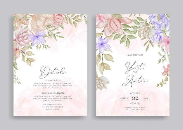 Modelo de convite de casamento elegante com aquarela floral