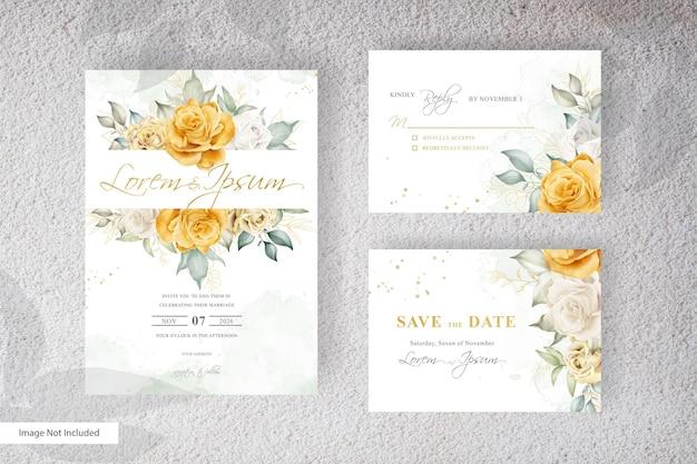 Modelo de convite de casamento elegante com arranjo floral aquarela desenhado à mão