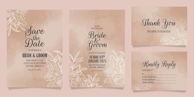 Modelo de convite de casamento elegante com decoração de folhas florais