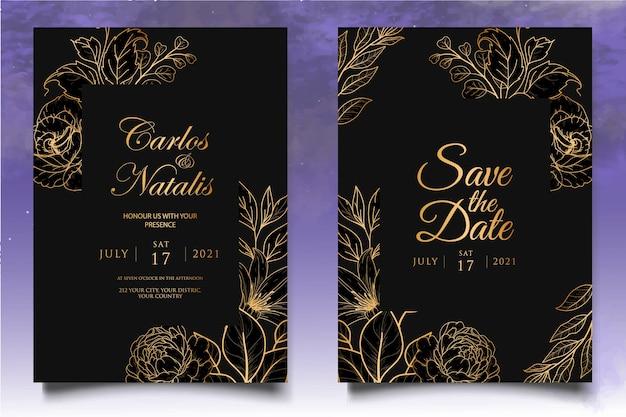 Modelo de convite de casamento elegante com decoração floral dourada