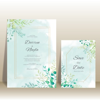 Modelo de convite de casamento elegante com decoração floral