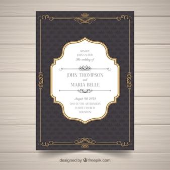 Modelo de convite de casamento elegante com estilo vintage