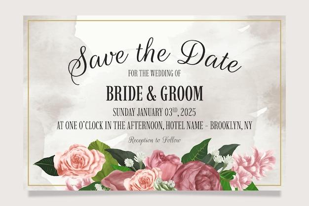 Modelo de convite de casamento elegante com flores em aquarela e moldura dourada