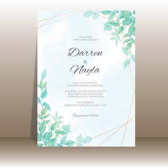 Modelo de convite de casamento elegante com folhas em aquarela