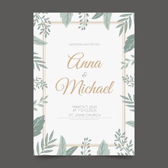 Modelo de convite de casamento elegante com folhas