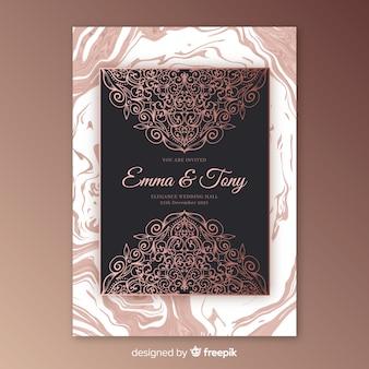 Modelo de convite de casamento elegante com mandala