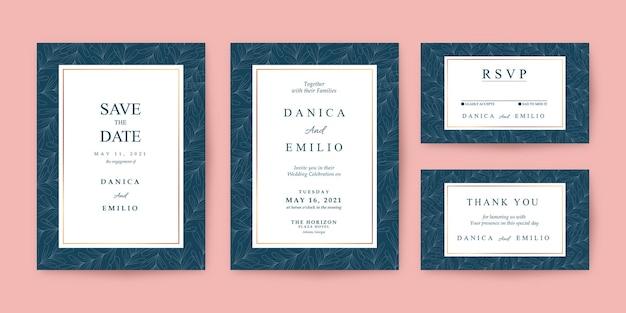 Modelo de convite de casamento elegante com padrões