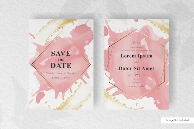 Modelo de convite de casamento elegante com respingo de fluido abstrato