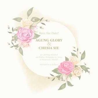 Modelo de convite de casamento elegante com rosa e folhas